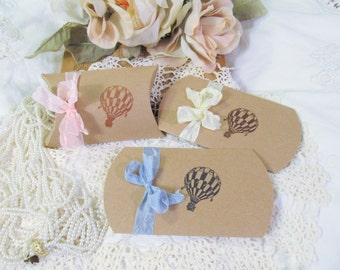 Hot Air Balloon Small Kraft Pillow Candy Box Shower Favor - Set of Ten - Choose Ribbons & Ink - Gender neutral baby sprinkle wedding bridal