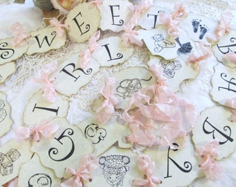 Baby Girl Banner Sweet Baby Girl Shower - Parchment Garland Bunting - Choose Size & Ribbons - Its a Girl - Small Medium Large - sprinkle
