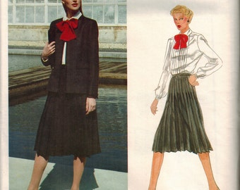 Vintage Vogue American Designer 2551 Skirt Jacket Blouse 80s Sewing Pattern Plus Size 16 Bust 38 Joseph Picone Pleated Skirt Bow Tie Blouse