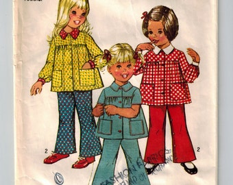 70's Toddler Girls Smock Top & Bell Bottom Pants Vintage Sewing Pattern Size 1 Gathered Yoke Front Buttons Patch Pockets Elastic Waist Pants