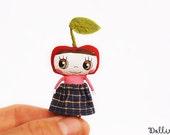 Red apple doll, Fruit doll, Miniature apple girl, OOAK doll, Collectible art doll, Happy mini doll, Kawaii art doll, Zakka doll, Blythe pet