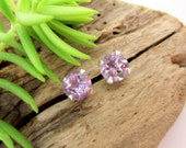 SALE Normally 42 dollars, Light Brazilian Amethyst Earrings in Gold, Silver, or Platinum with Genuine Gems, 6mm - Free Gift Wrapping
