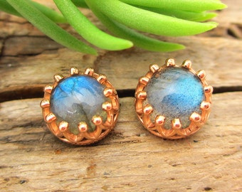 Labradorite Stud Earrings, Iridescent Electric Blue Cabochon Earrings in Rose Gold, 6mm