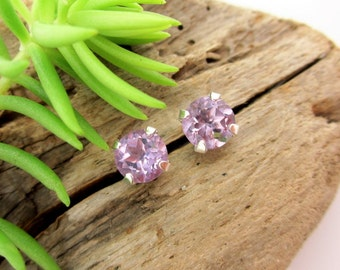 Light Brazilian Amethyst Earrings in Gold, Silver, or Platinum with Genuine Gems, 6mm - Free Gift Wrapping