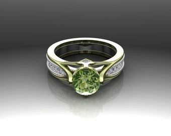 Arizona Peridot and 14k Green Gold Ring with Diamonds