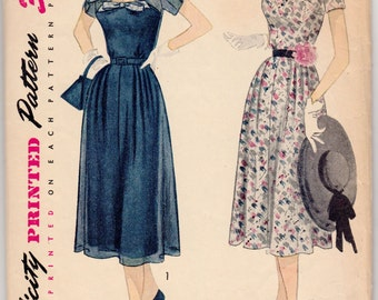 Vintage Sewing Pattern Ladies 1950's Dress Simplicity 3554 36 Bust - Free Pattern Grading E-book Included