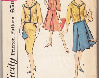 """1960's Vintage Sewing Pattern Ladies' Skirt and Jacket Simplicity 4361 34"""" Bust - Free Pattern Grading E-book Included"""