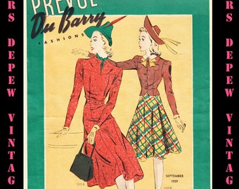 1930's Vintage Sewing Pattern Catalog Booklet DuBarry Prevue September 1939 - INSTANT DOWNLOAD
