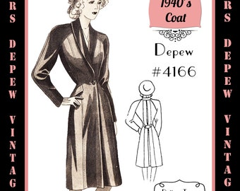 Vintage Sewing Pattern 1940's Raglan Sleeve Jacket in Any Size # 4166 Draft at Home Pattern - PLUS Size Included -INSTANT DOWNLOAD-