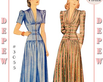 Vintage Sewing Pattern Reproduction 1940's Dinner or Lounge Pajama #3055 - Full Size PAPER VERSION