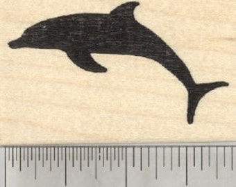 Dolphin Silhouette Rubber Stamp E28808 Wood Mounted
