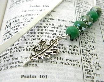 Leaf Bookmark with Green Beads Steel Bookmark Shepherd Hook Beaded Bookmark