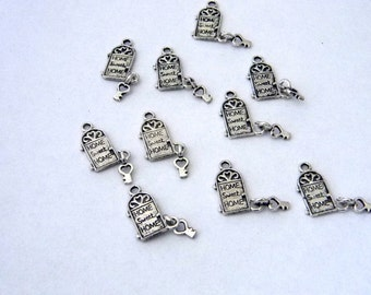 Beautiful Front Door Charms Set Of Ten Silver Color Home Sweet Home Charm 18x12mm