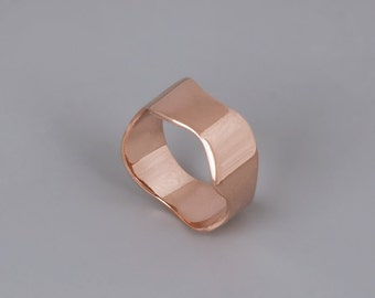 14k Rose Gold Ring, Rose Gold Wedding Band, Solid 14K Gold Ring, Womens Wedding Ring, Wedding Band, Fine Ring, Wave Ring, Delicate Ring Gold