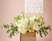 """Banderitas Mini Papel Picado Mini Flags (12 flags) (5x7 and on 12"""" dowel) Personalized Wedding with names and date"""
