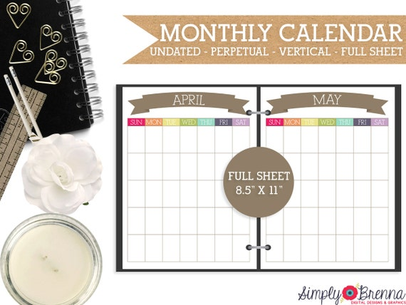 Weekly Calendar Undated : Undated monthly vertical calendar printable colorful