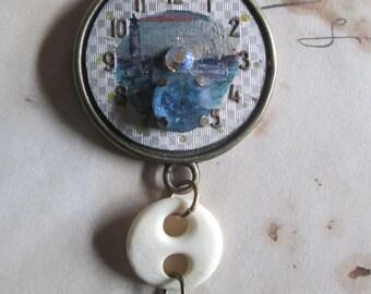 OOAK WatchFace Necklace -  Lighthouse Watch - Neo Victorian Lighthouse Keeper  Pendant Necklace -  Mrs. Muir's Bone Button