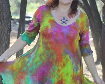 RESERVED Mottled Rainbow soft Rayon Knit flared top created by Wunjo Crow
