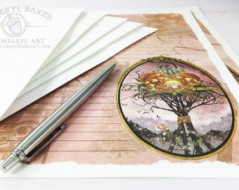 Wicked Witch Stationery Paper - Stationery Paper Set with Envelopes - Stationery Set - Writing Paper - Lined Paper - Pumpkin - Goblins