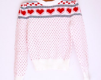 Vintage teen girls novelty sweater eighties style 10 to 12 red hearts