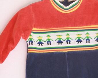 Vintage toddler romper velour 12 to 18 months
