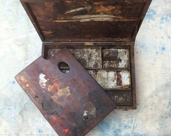 antique German-made en plein air mahogany dovetailed painting box w. palette