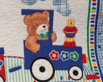 Baby Quilt Teddy Bears on Train
