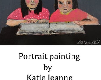 Original Acrylic Portrait Painting. Little Girls Reading Book. Library Story Hour. Girls Room Decor