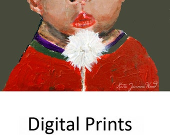 Boy Portrait Painting Print. Little Dude Blowing on Dandelion Print. Summertime Wall Art Prints