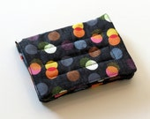 Mini Wallet with Credit Card slots and zipper Coin pocket - Multi-Colored Circles on Charcol - fabric