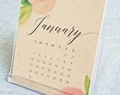 25% OFF SALE - 2016 Floral Watercolor Desktop Calendar - Black Calligraphy Script Desk Calendar on Recycled Kraft Card Stock