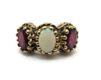 Opal Ring - 10k Gold - Garnet and White Opal Ring, Pinfire, Opal Statement Ring October Birthstone Jewelry, Estate Jewelry