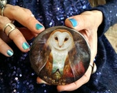 Owl Mountain Pocket Mirror   owl accessory gift for girl   art by Meluseena