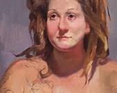"Art painting portrait ""Medusa"" 14x18 inch original oil by Oregon artist Sarah Sedwick"