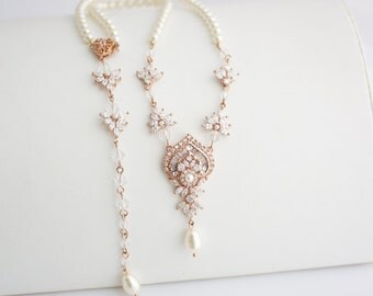 Wedding Necklace Bridal Jewelry Rose Gold Backdrop Necklace Rose Gold Jewelry Wedding Jewelry EVIE Back Drop Necklace