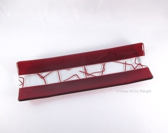 Fused Glass Plate Red Bent Stringer Channel Serving Tray