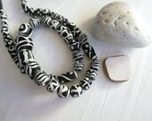 Black and white glass beads mix,  round oval tube, matte opaque ethnic motif glass bead, Indonesia 6 to 24mm x  6 to 18mm  20 inches / 5A31