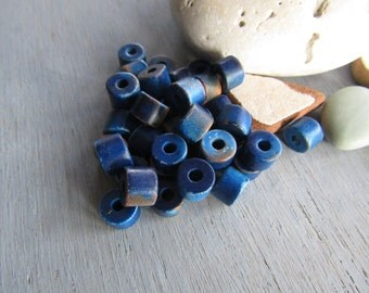 Blue brown barrel ceramic beads, multi tone , rough ripped paint effect,  rustic ronedelle  beads  8mm x 5mm ( 12 beads ) 6ass6-4