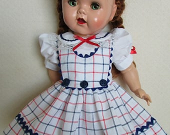 For 16 Inch Saucy Walker Doll - Red, White and Blue Plaid Jumper Dress