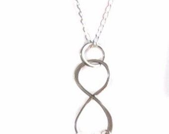 """Sterling Silver Infinity Charm With Swarovski Birthstone Crystals Necklace 18"""", Mom Mother Grandma Grandmother Family Mother's Day Gift"""