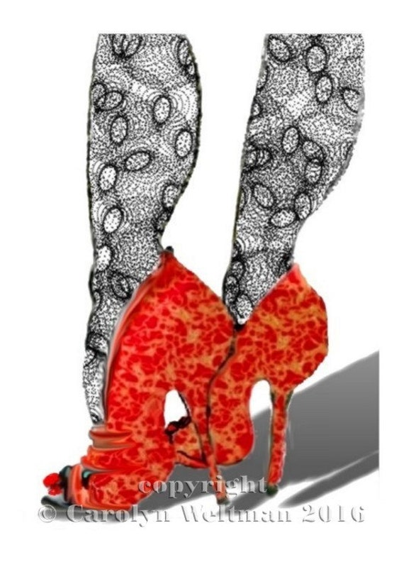 Hand decorated, Shoe Illustration - Red Shoes, Black Stockings
