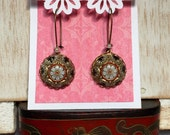 Czech Glass Vintage Mosaic Brass Earrings with gold highlights