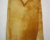Mens 70s Vintage Brown and Gold Tie Dye Knit Collar Shirt Overlock Stitching Detail M L  43