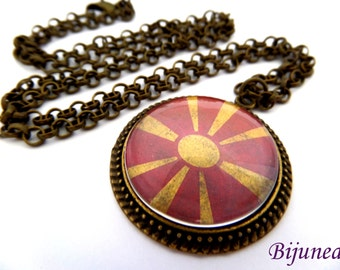 Republic of Macedonia necklace - Country Republic of Macedonia necklace - World country Republic of Macedonia necklace n789
