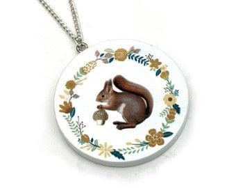 Wooden Squirrel Necklace, Squirrel Pendant, Woodland Jewelry