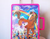CHASER & LOLLIPOP // Vintage 90s Lisa Frank Rolling Backpack Luggage Case Horse Carryall Cute Stash Box 1990s Kawaii Rainbow Small Box
