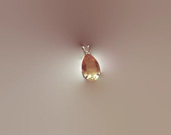 Clearance Sale Golden Yellow Citrine Real Gemstone Pendant and Necklace Set Sterling Silver Large Pear Shape Handmade Gift for Her