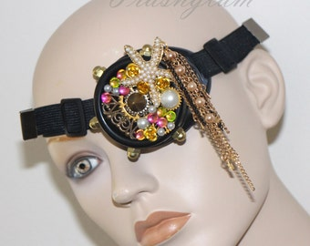 Steampunk sea siren Gold brass chains filigree starfish pearls assemblege GOGGLES Antique gypsy boho mermaid inspired