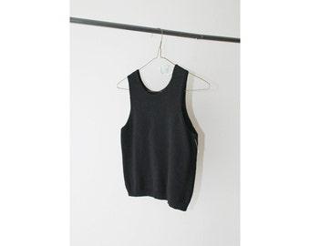 1990's Black Tank Top Sleeveless Cropped Sweater