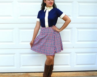 1970s Vintage Red White and Blue Wool Houndstooth Kilt Pleated Skirt Houndstooth Skirt Wool Pleated Skirt Schoolgirl Size Extra Small